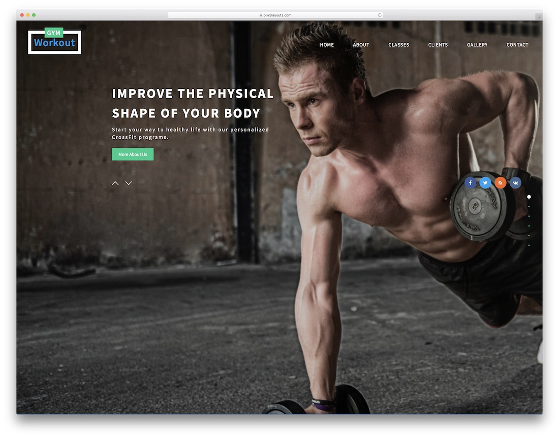 gym workout free fitness website template