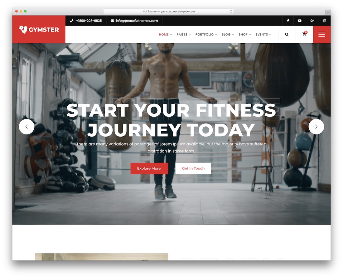 gymster wordpress fitness theme