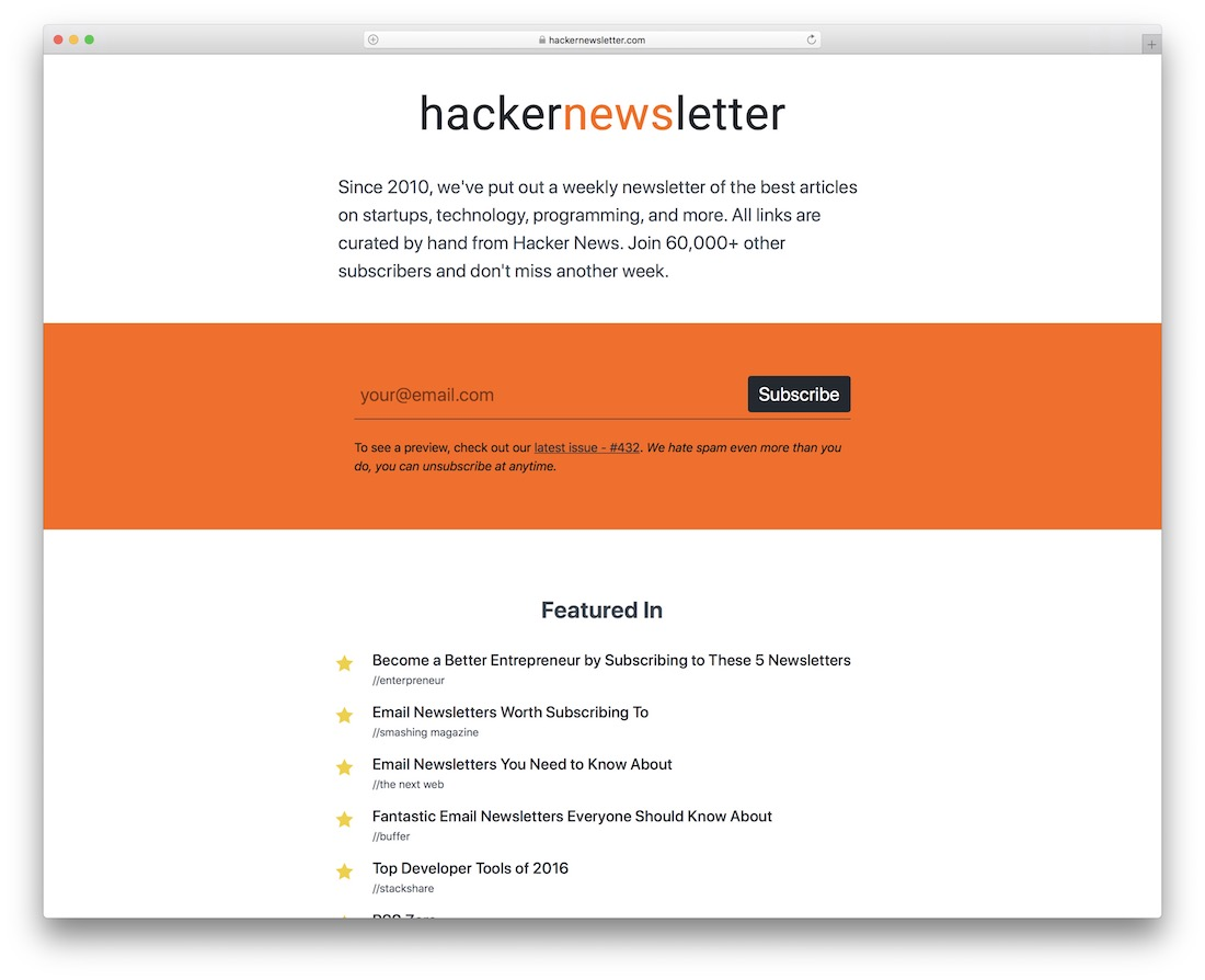 hacker newsletter startup business newsletter