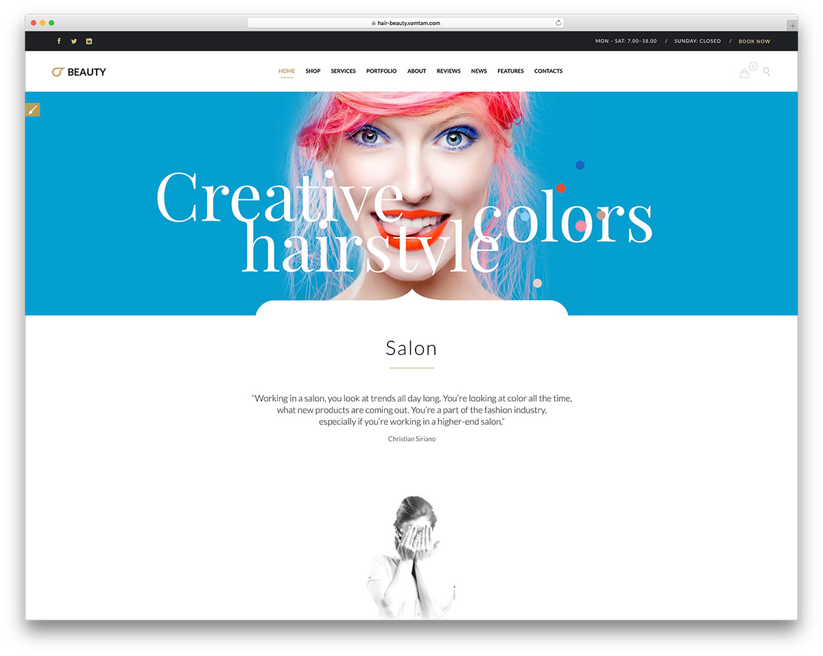 Hair Salon And Barber Shop WordPress Themes Colorlib - Beautiful hairstyle salon app
