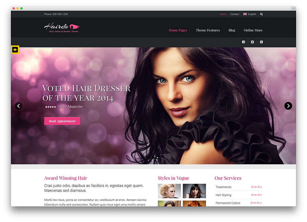 hairdo - hair salon WordPress theme