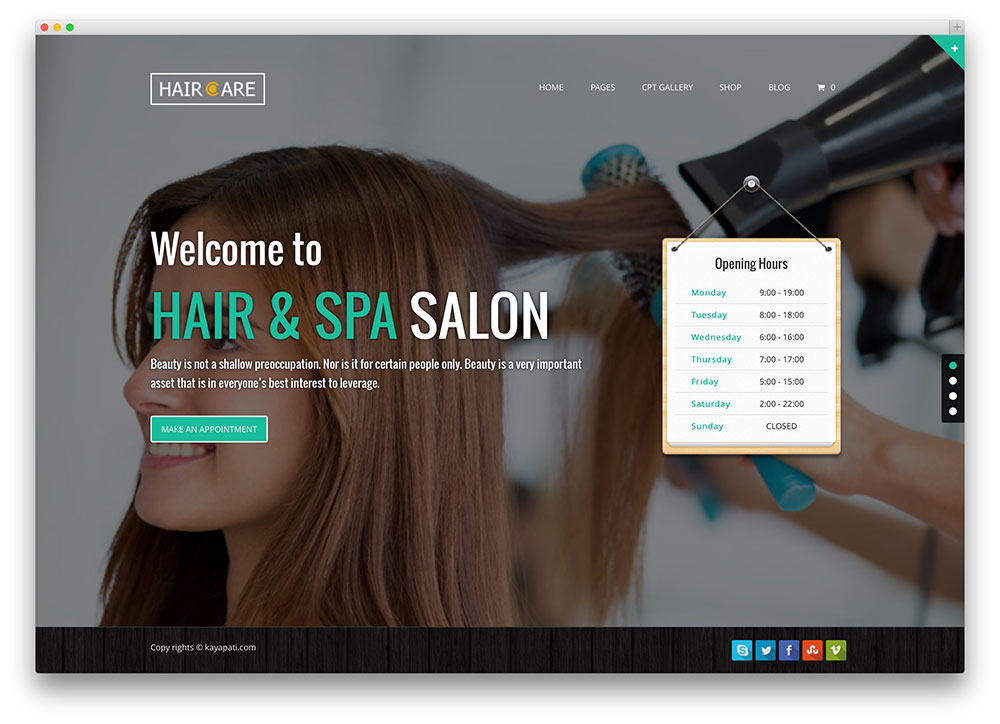 20 beautiful spa beauty salon wordpress themes 2017 colorlib haircare hair salon theme urmus Images