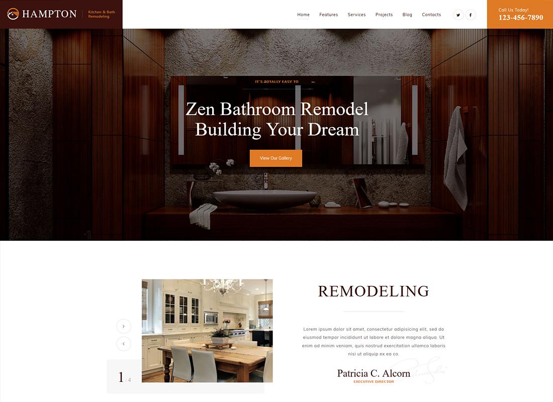 Hampton - Home Design and House Renovation WordPress Theme