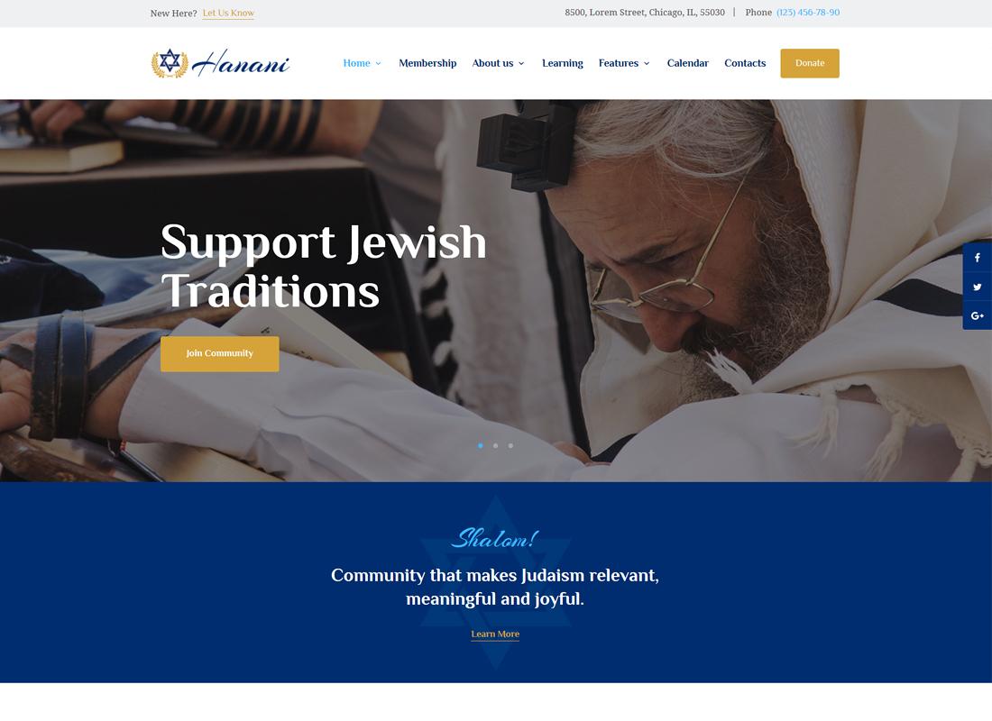Hanani - Jewish Community & Synagogue WordPress Theme