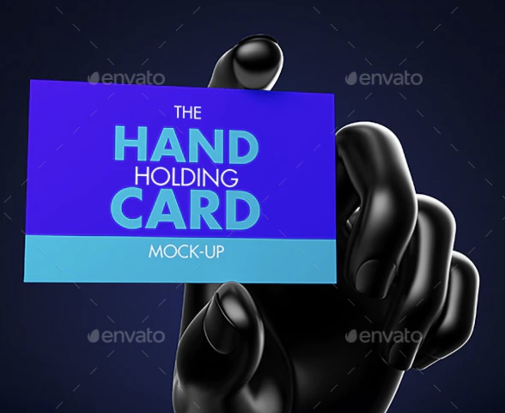hand holding card mockup