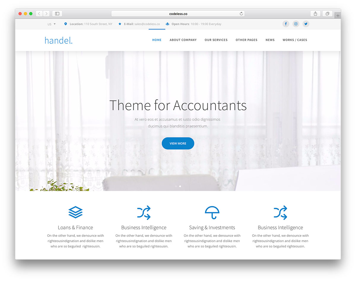 20 best financial company wordpress themes 2018 colorlib handel is business oriented wordpress theme of custom built it provides all basic features needed in promoting and running a professional website maxwellsz