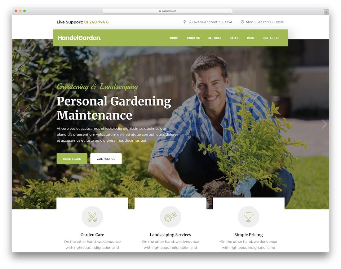 handel gardening landscaping wordpress theme