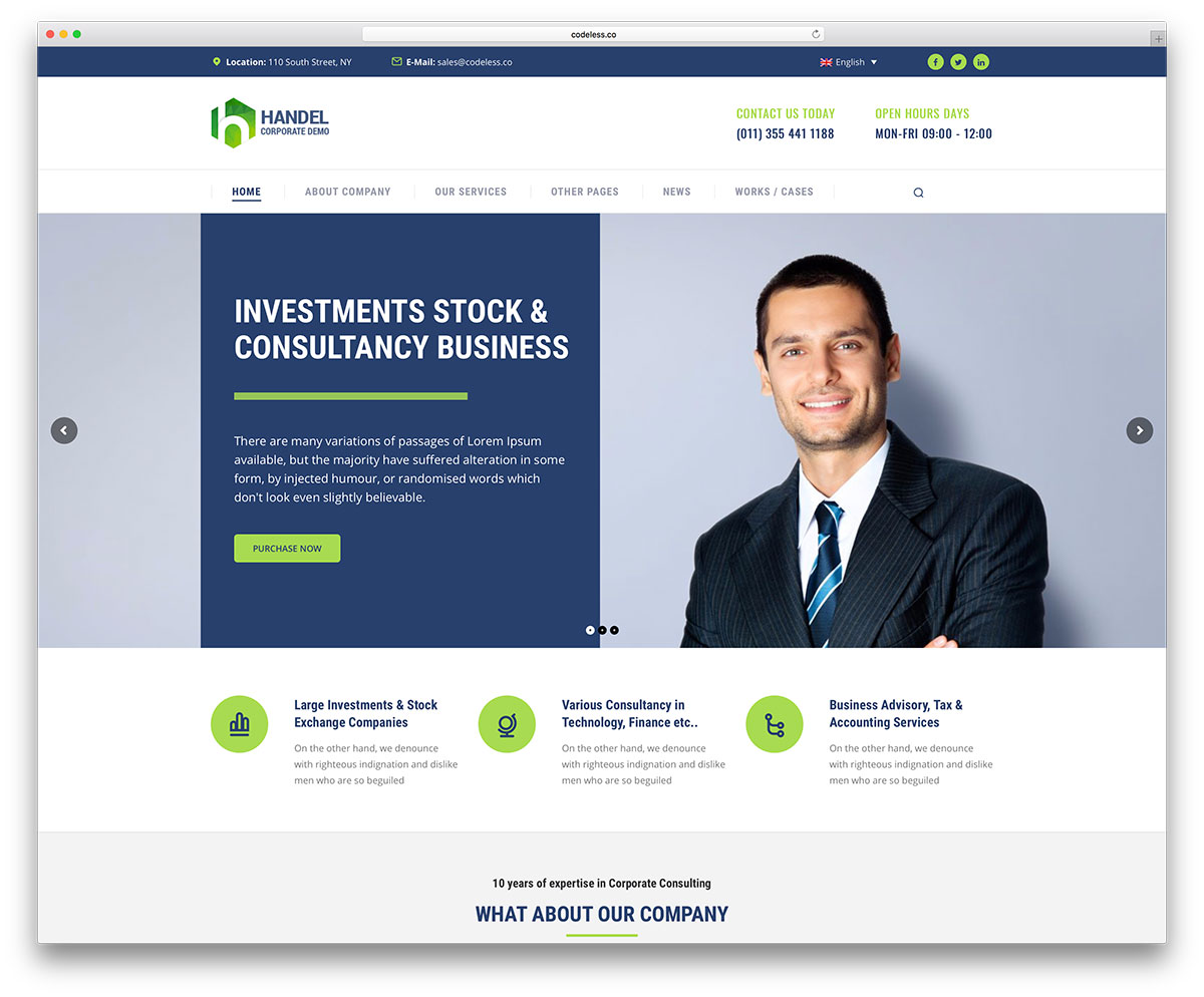 50 best wordpress corporate business themes of 2018 colorlib handel is a sharp modern and responsive wordpress business multipurpose website theme this theme is a sophisticated platform for quick development of flashek Choice Image