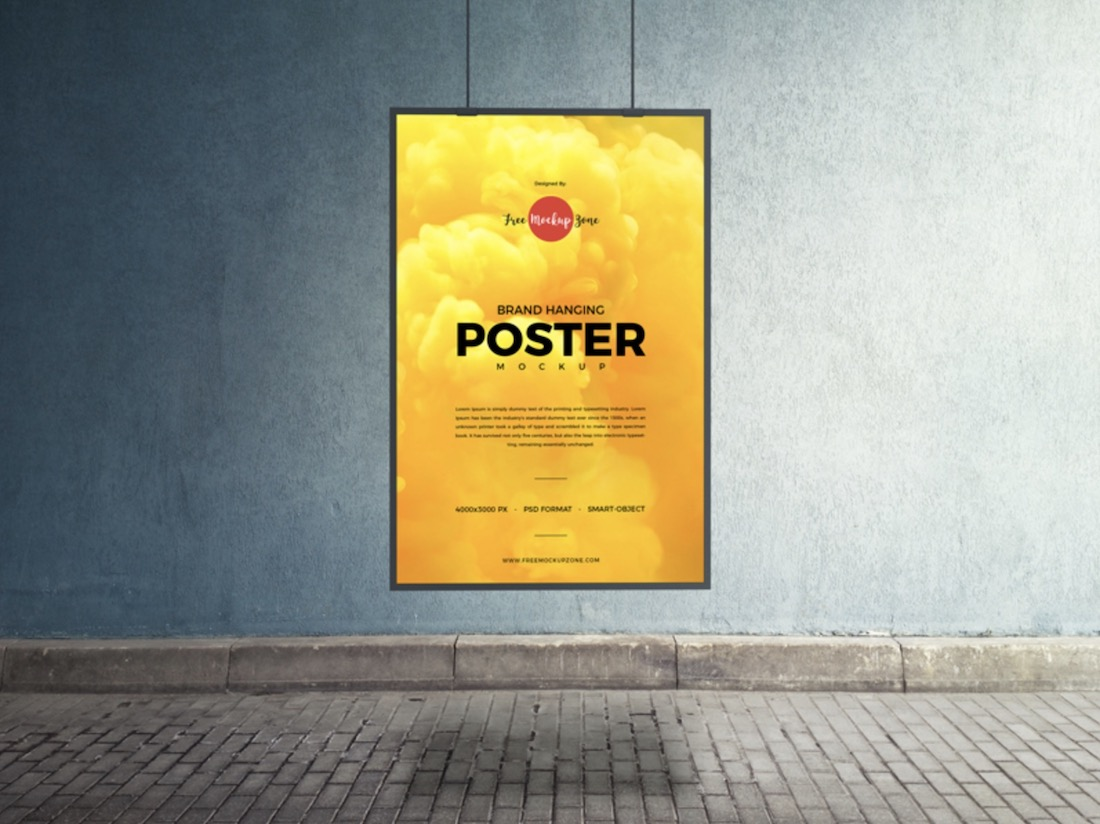hanging poster psd mockup