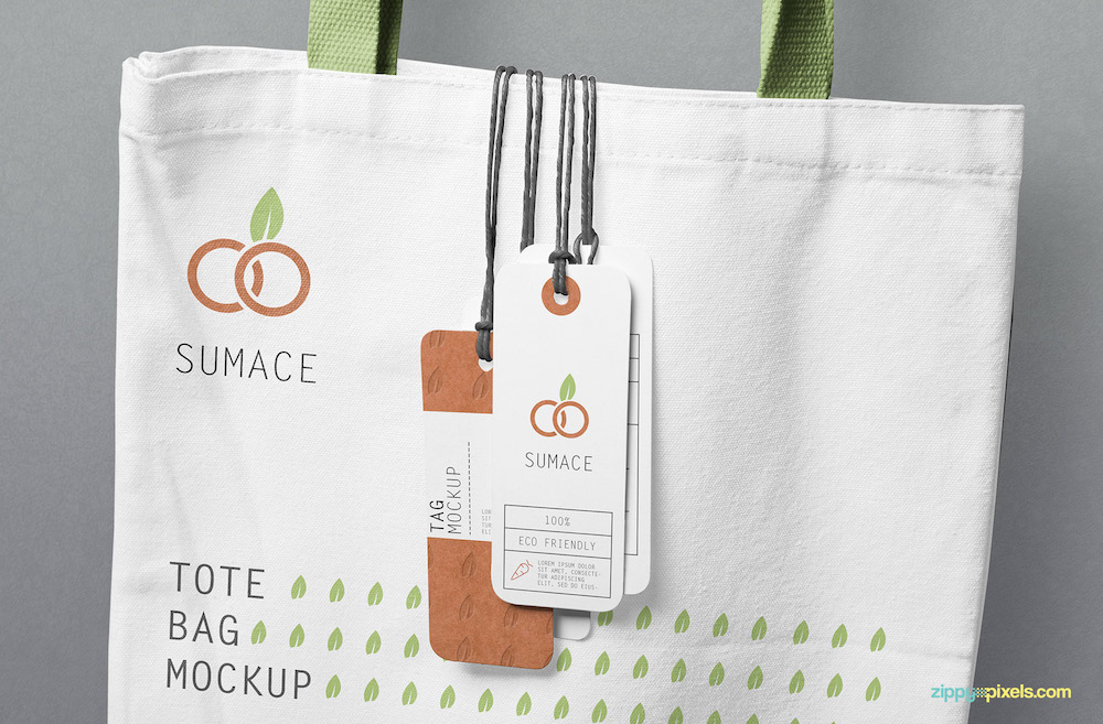 hanging tags and tote bag mockup