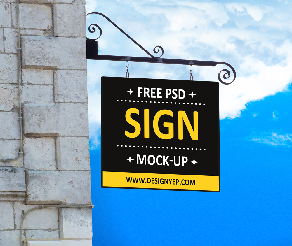 hanging wall sign psd mockup