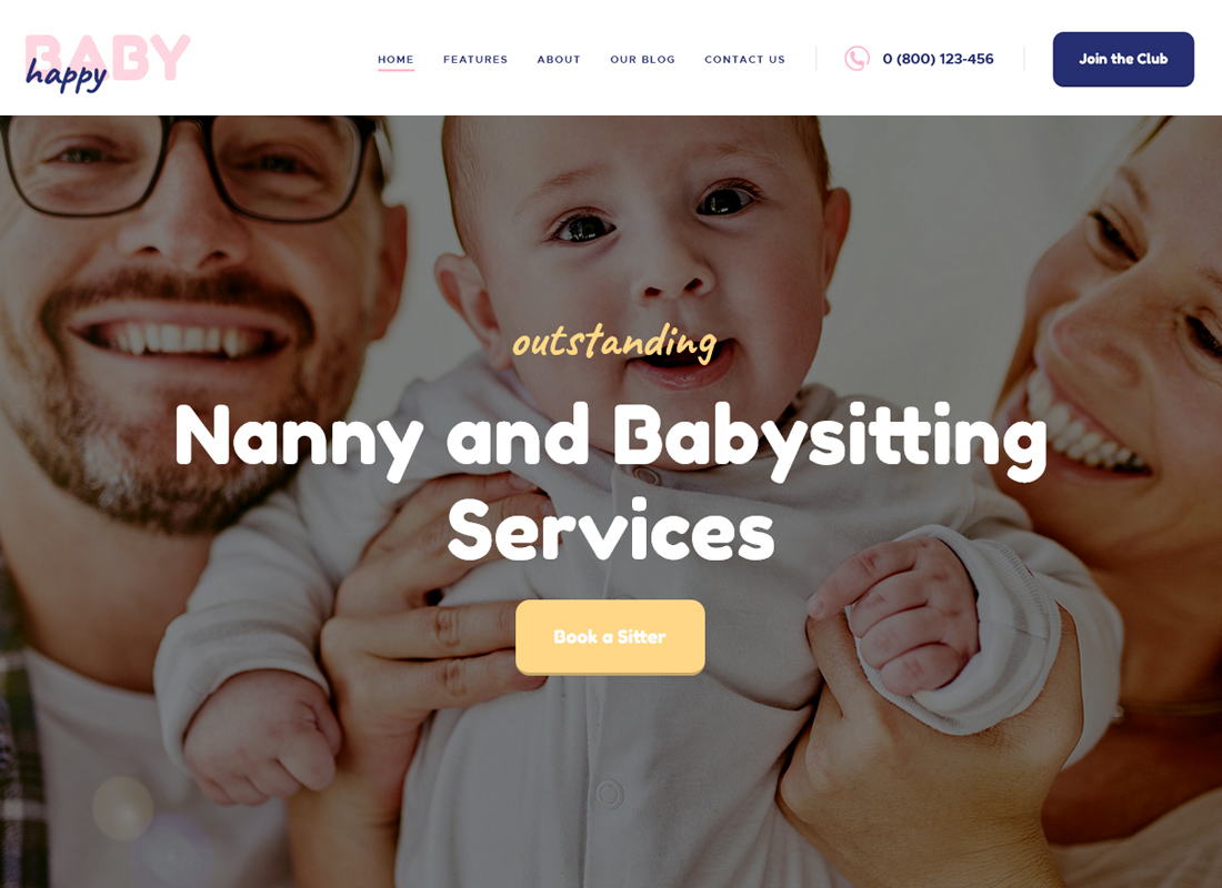 Happy Baby - Nanny & Babysitting Services WordPress Theme