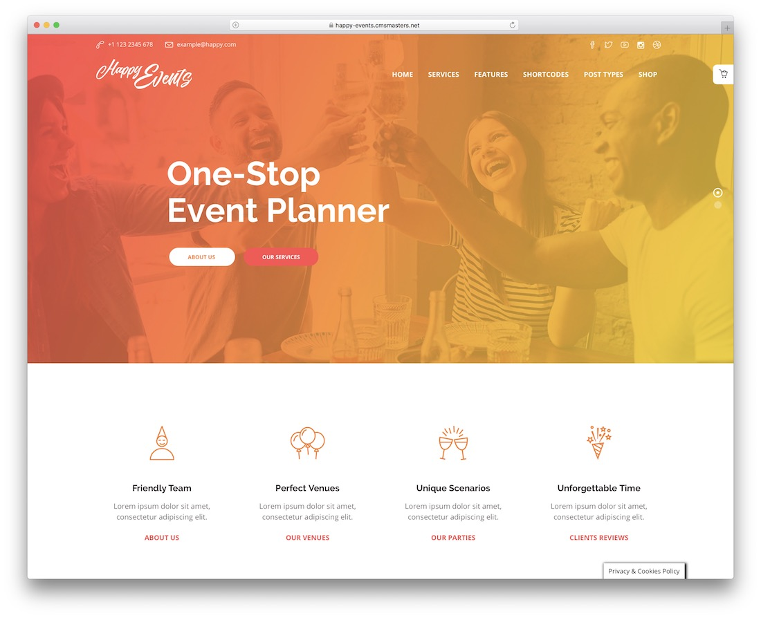 happy events event planner wordpress theme