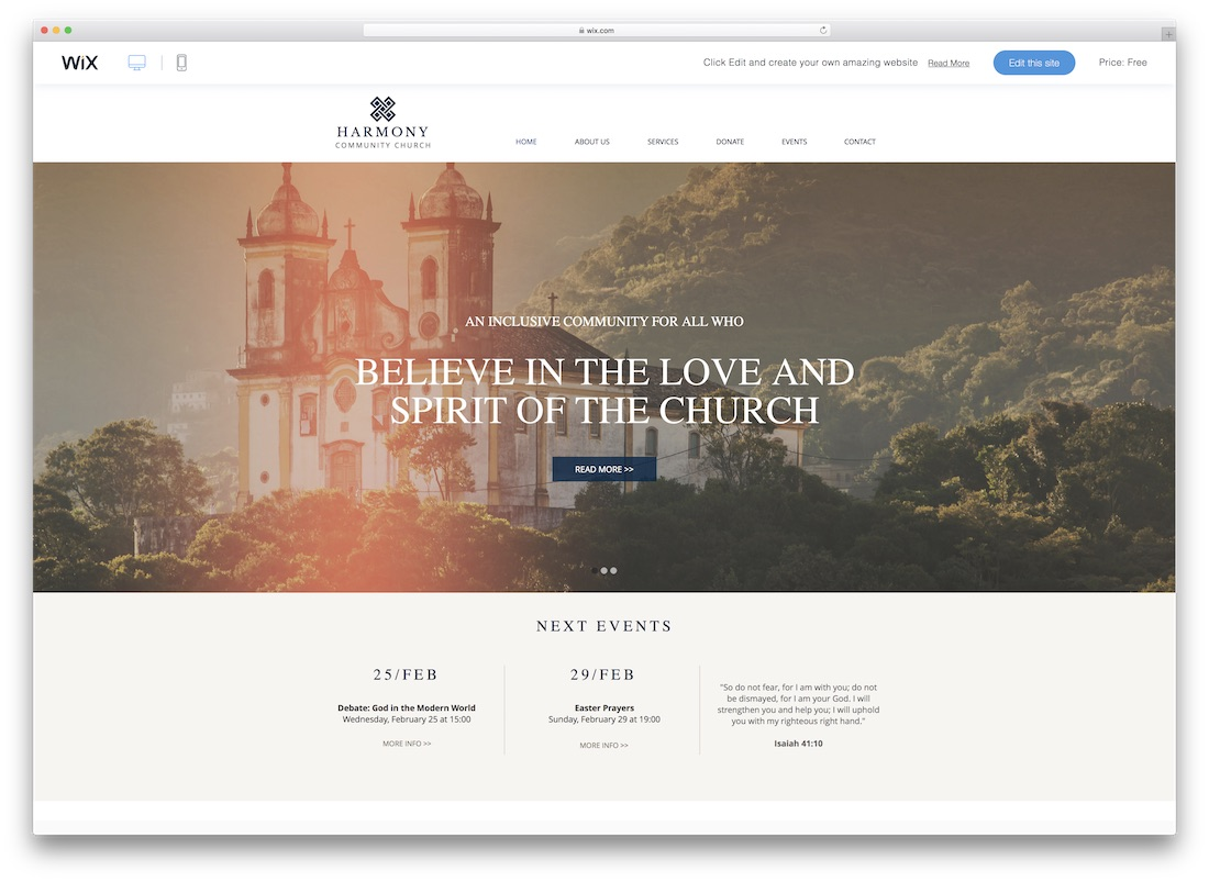 harmony church website template