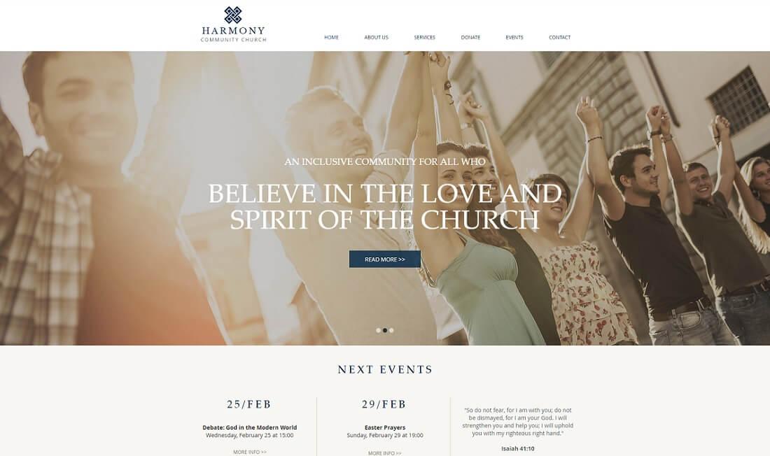 harmony free church website template