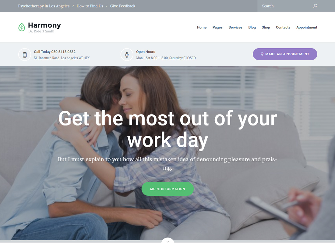 Harmony | Psychologist and Psychotherapist WordPress Theme
