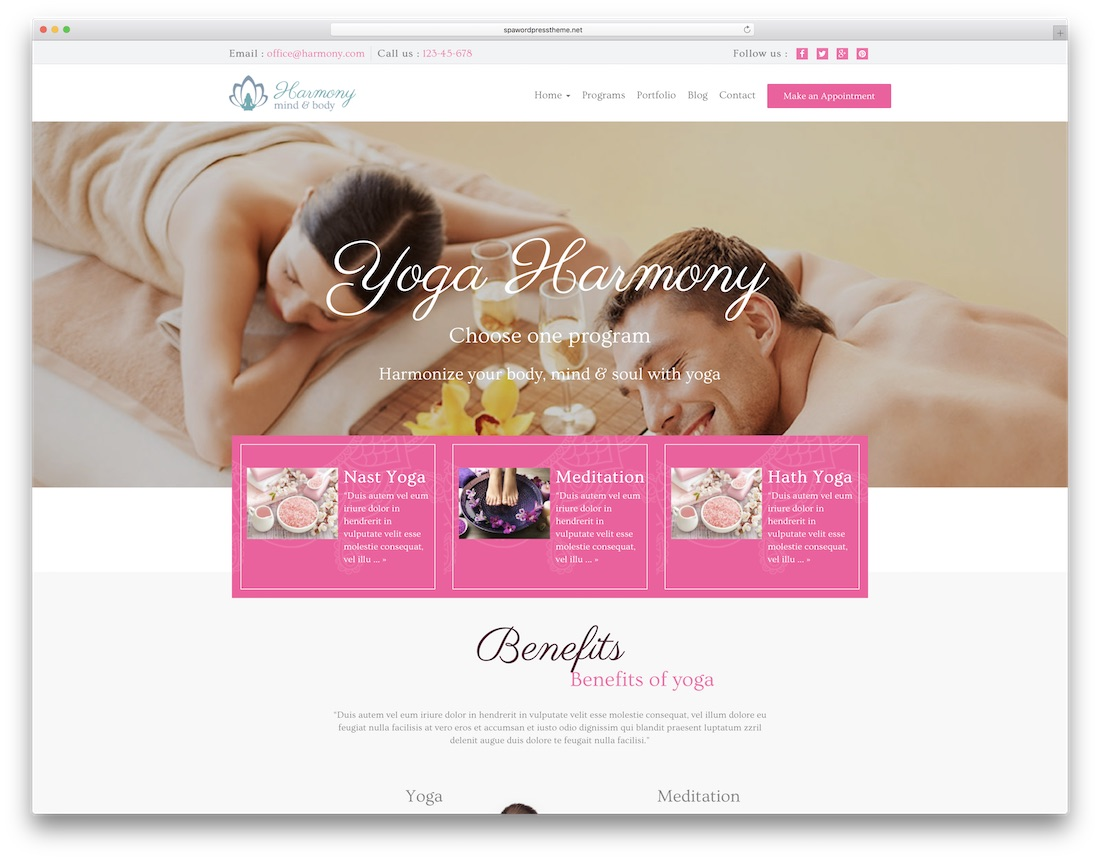 harmony spa physiotherapy chiropractor wordpress theme
