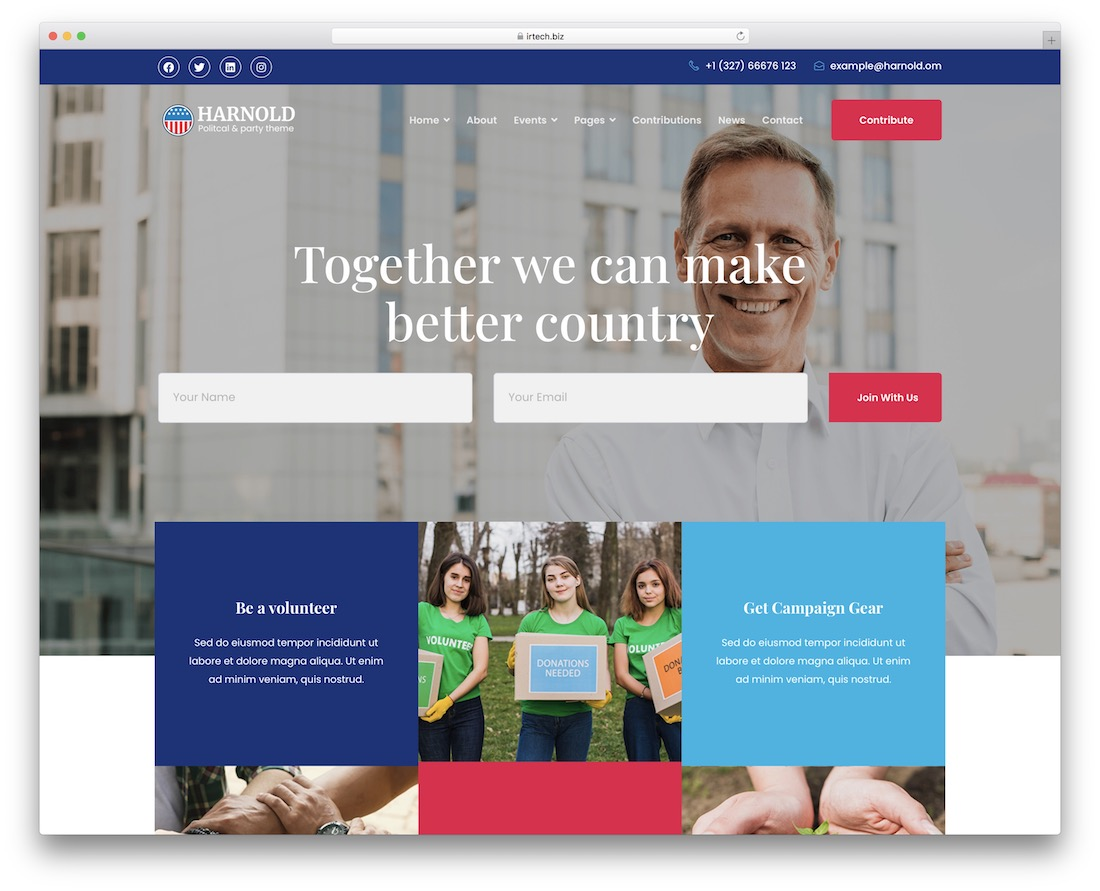 harnold political government wordpress theme