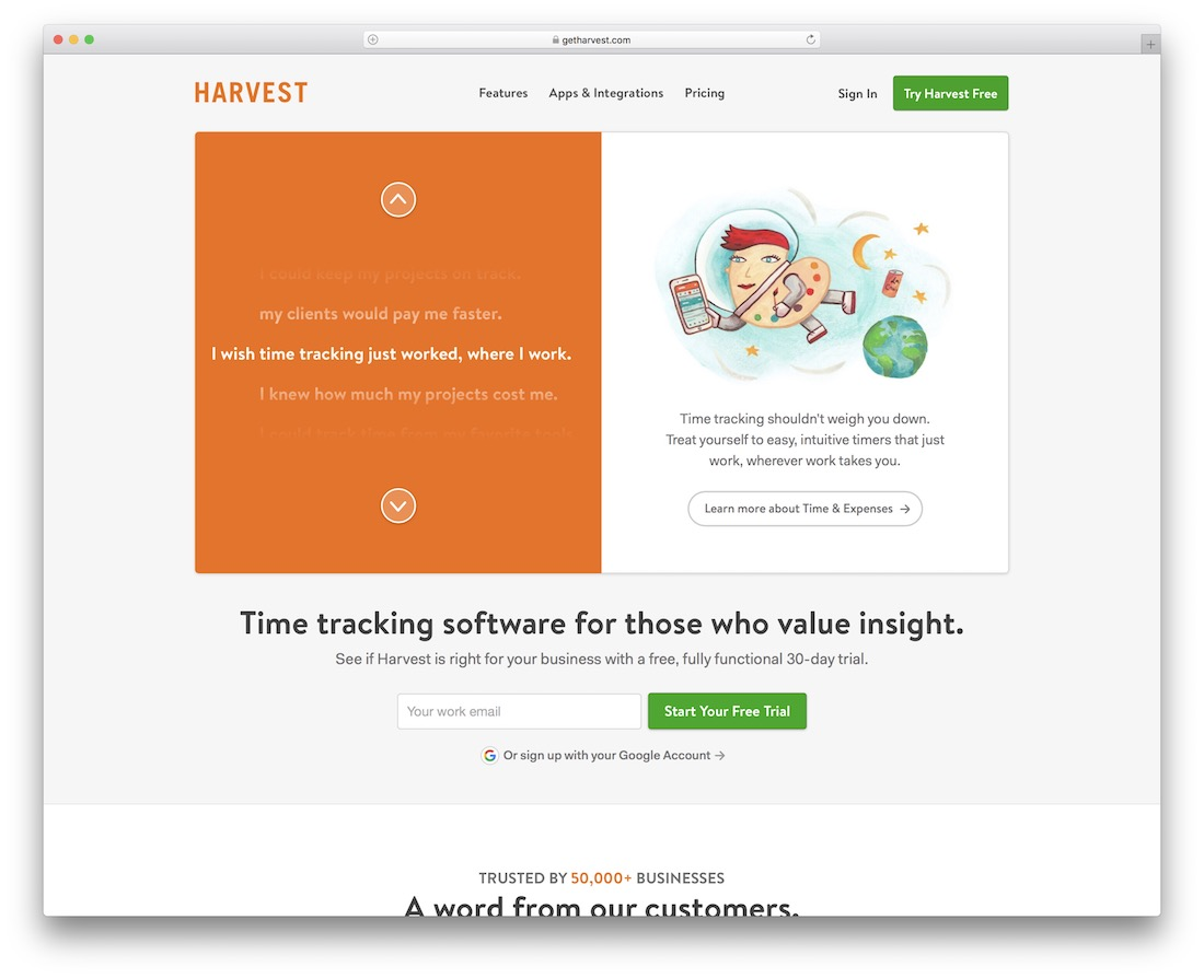 harvest time tracking tool