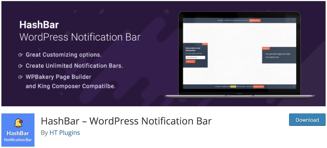 hashbar wordpress notification plugin