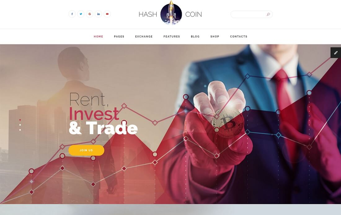 hashcoin plus cryptocurrency website template