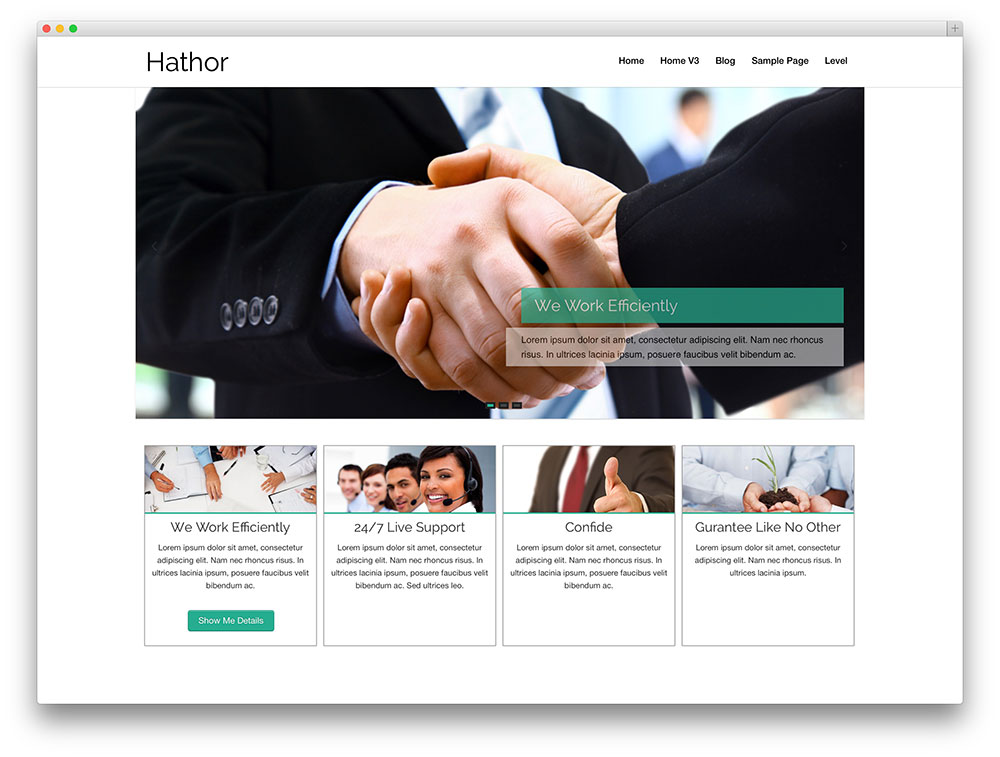 hathor - thème d'affaires WordPress simple