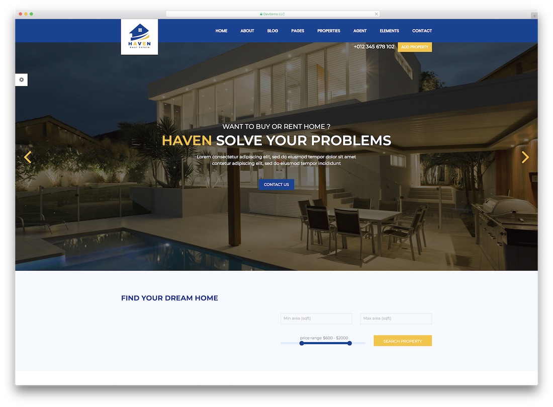haven real estate website template