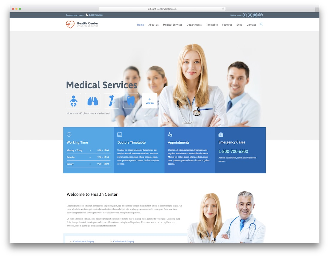 health center physiotherapy chiropractor wordpress theme