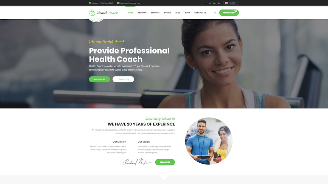 health coach website template