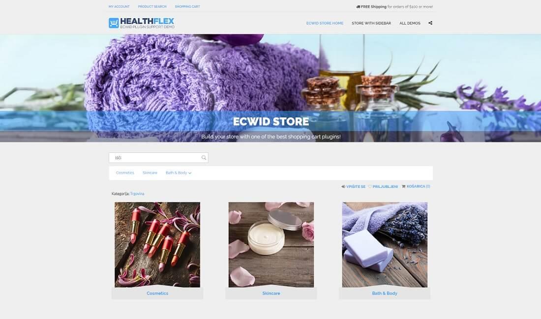 healthflex salon ecwid compatible theme