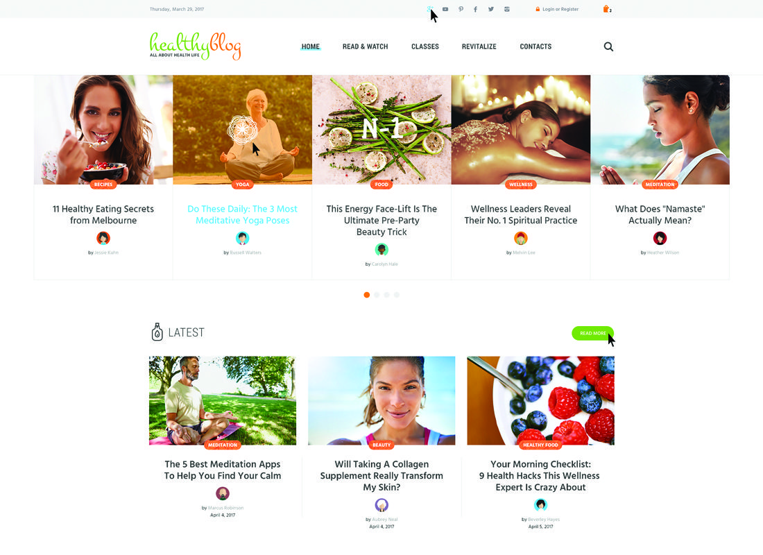 Healthy Blog | Healthy Living Blog with Online Store WordPress Theme