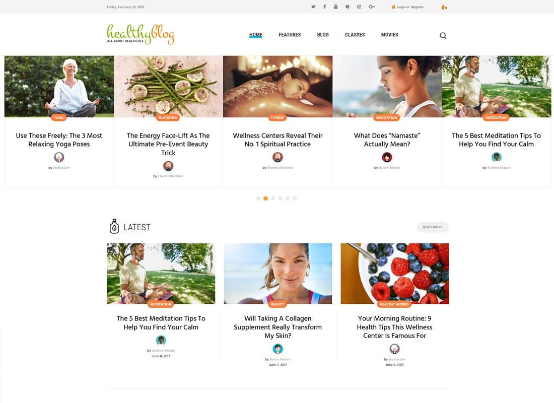 건강한 블로그 | 온라인 상점 WordPress 테마로 건강한 생활 블로그