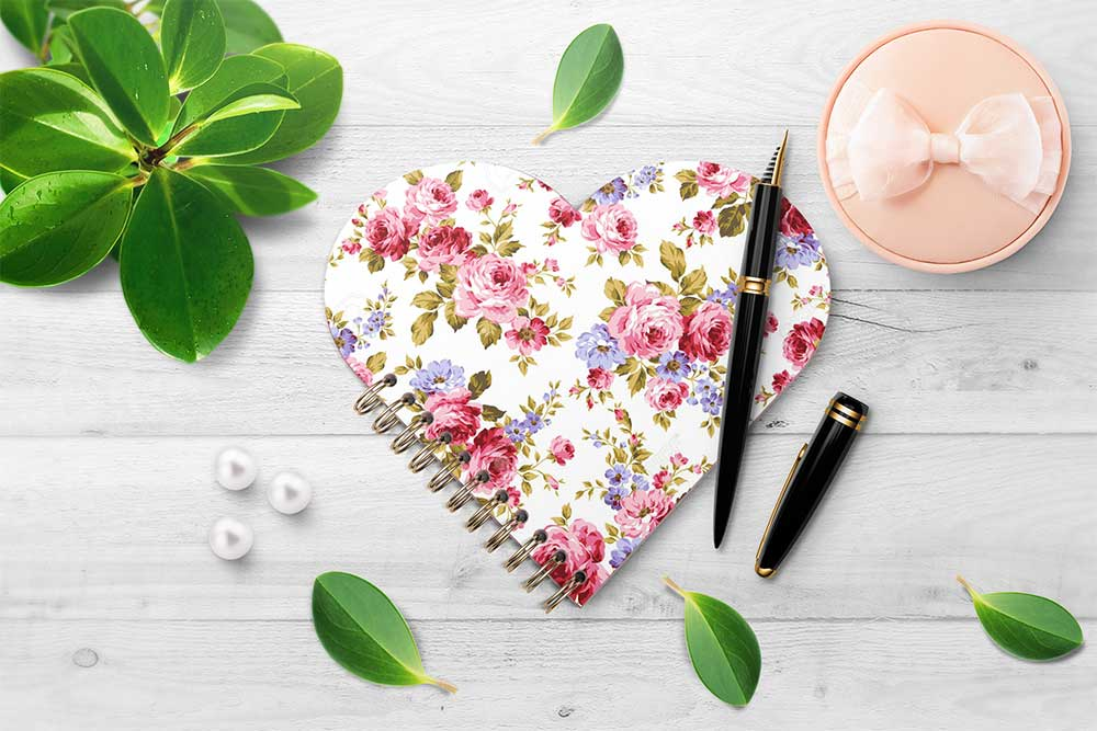 heart shaped spiral notebook mockup