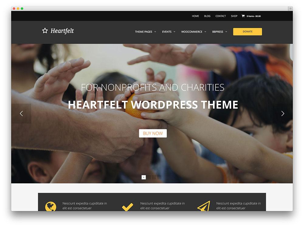 heartfelt Charity WordPress template