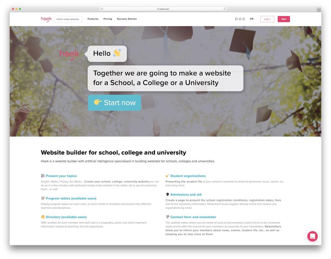 heek education website builder