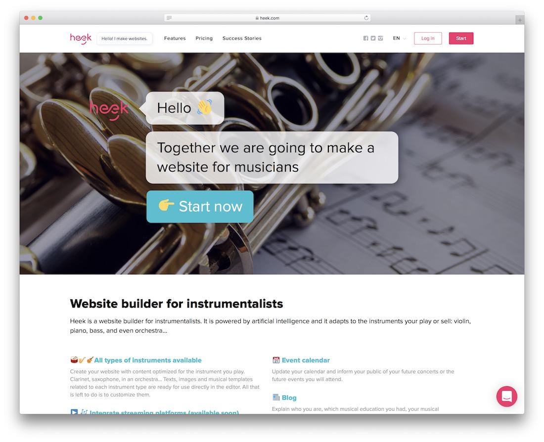 heek musician website builder