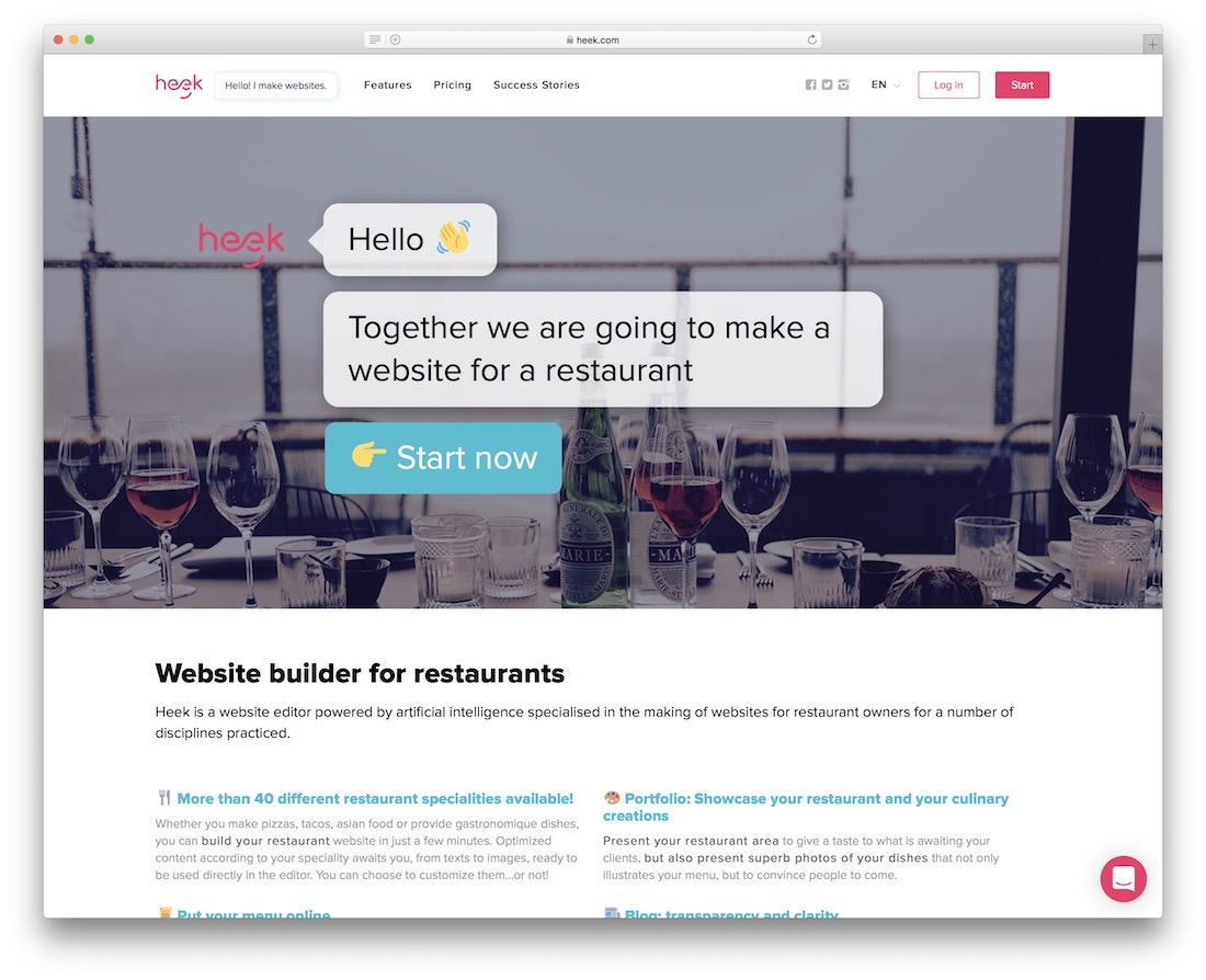 heek restaurant website builder