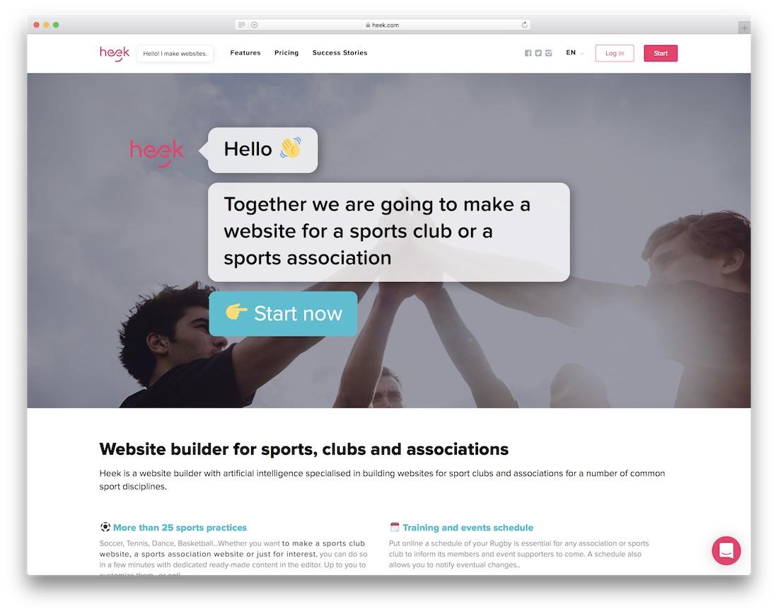 heek sports website builder