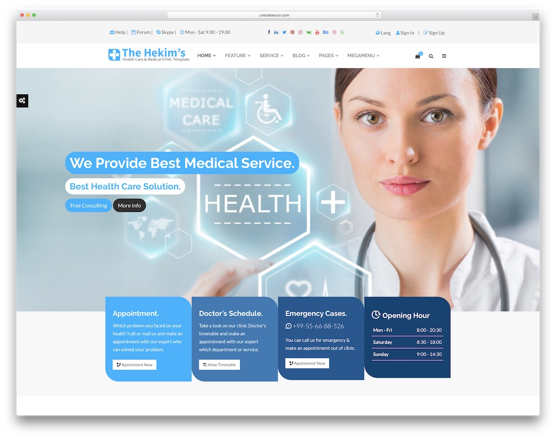 hekims health doctor website template
