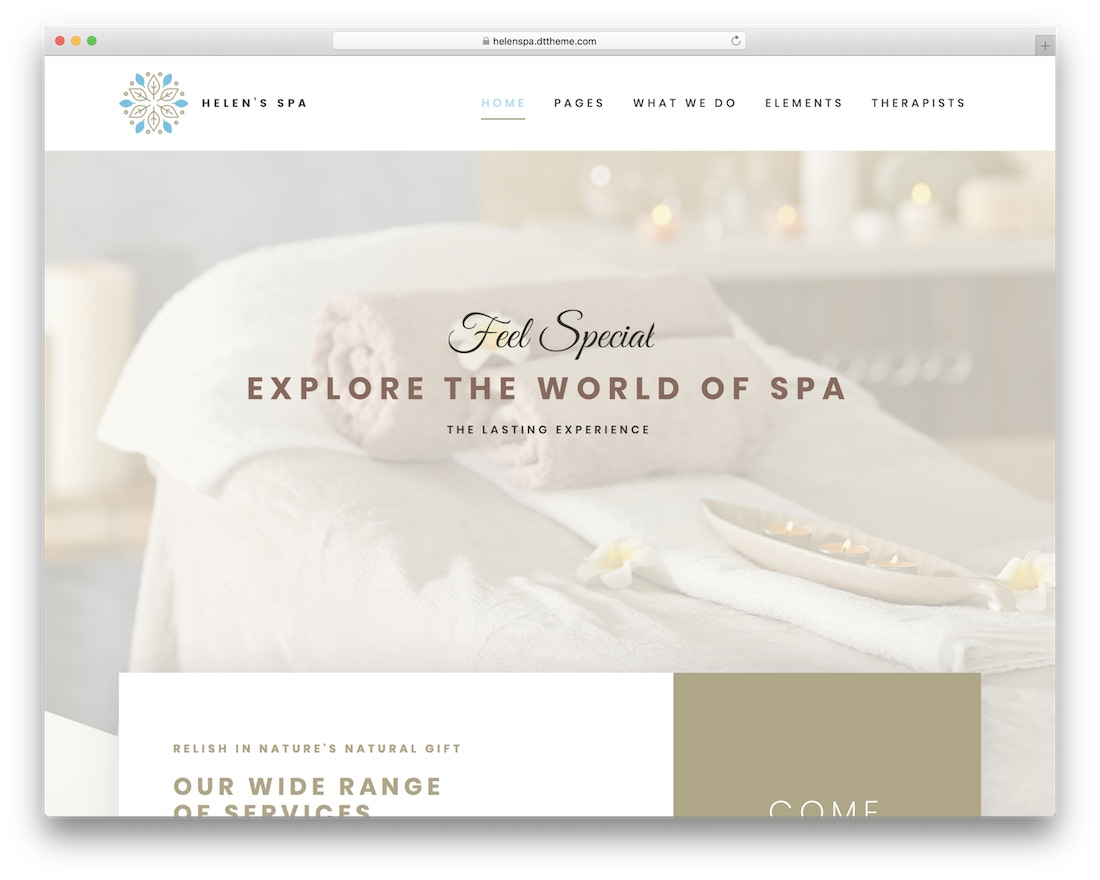 helens spa massage salon wordpress theme