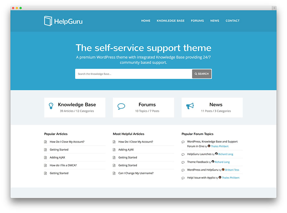 helpguru accesible tech support wordpress theme