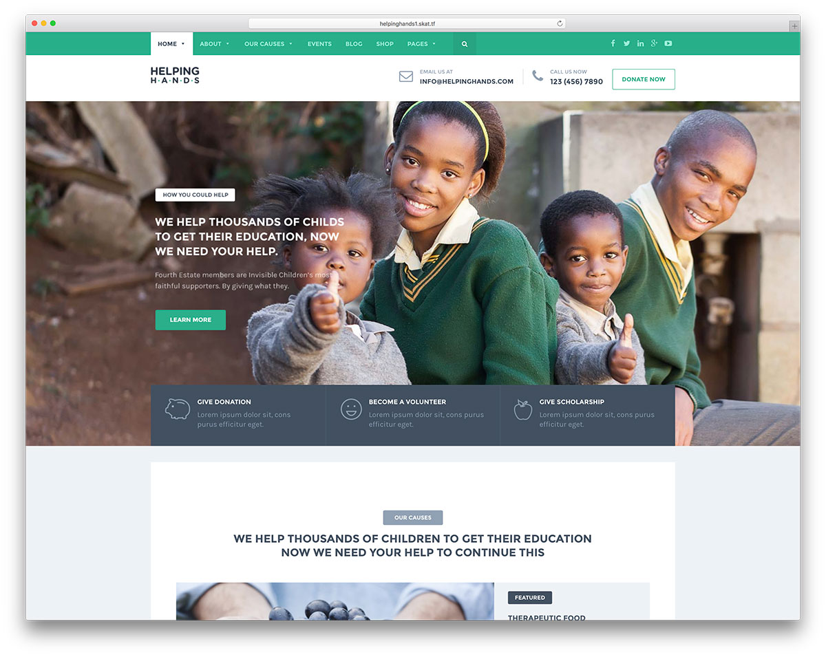Helpinghands classic charity wordpress website template