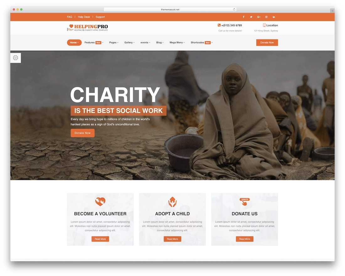 helpingpro HTML charity website template