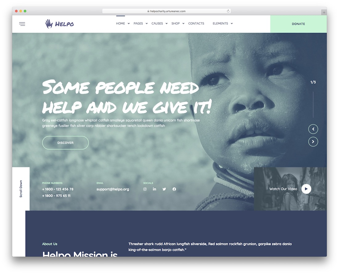 helpo fundraising wordpress theme