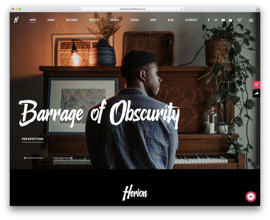 herion musician website template