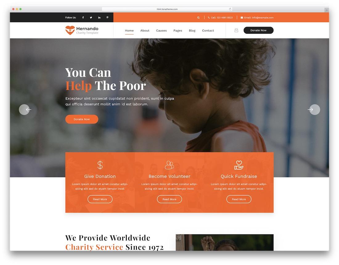 hernando html charity website template