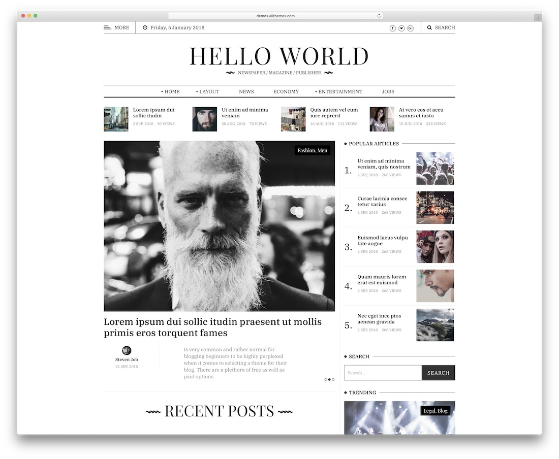 hewo news website template