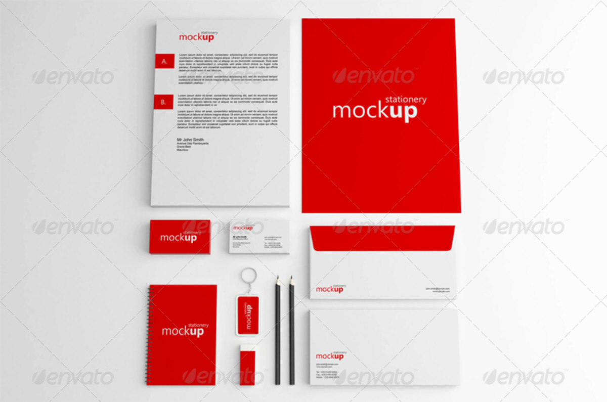 High Resolution Stationery Branding PSD Mockup