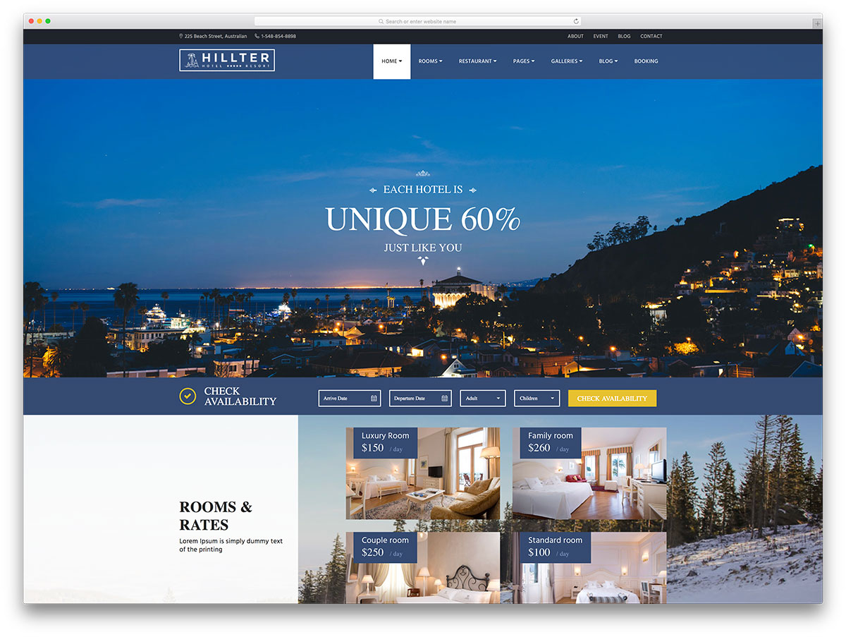 Hillter Creative Hotel Website Template