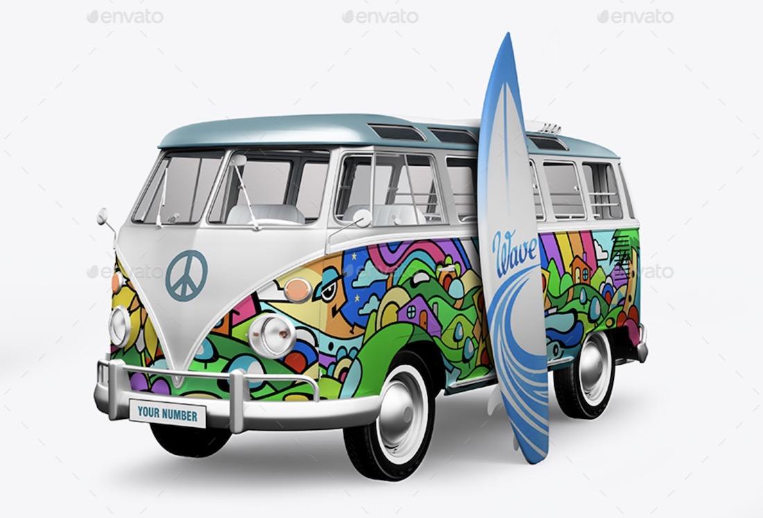 hippie bus surf board mockup